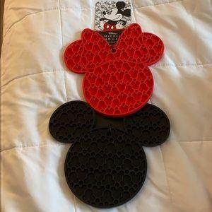 Disney Mickey and Minnie Silicone Trivets New